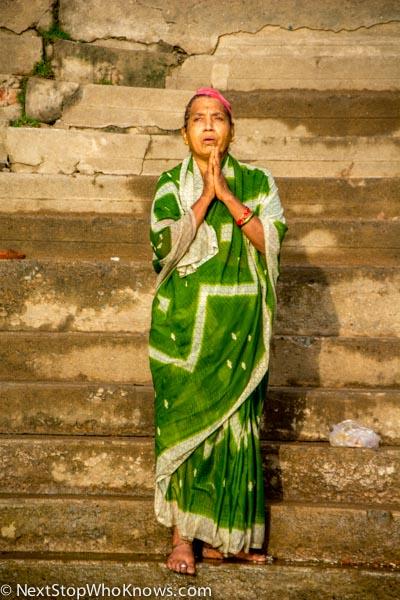 woman at varanasi ghat