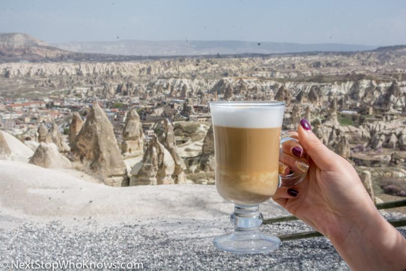 enjoying coffee in cappadocia